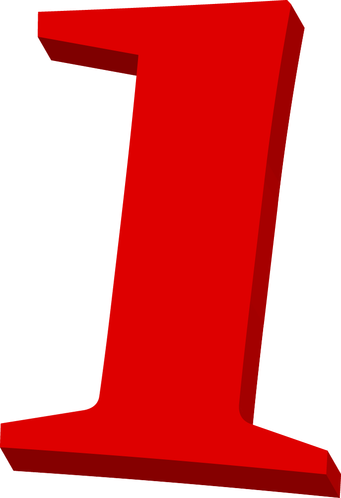 Number black and white. 1 clipart red 1