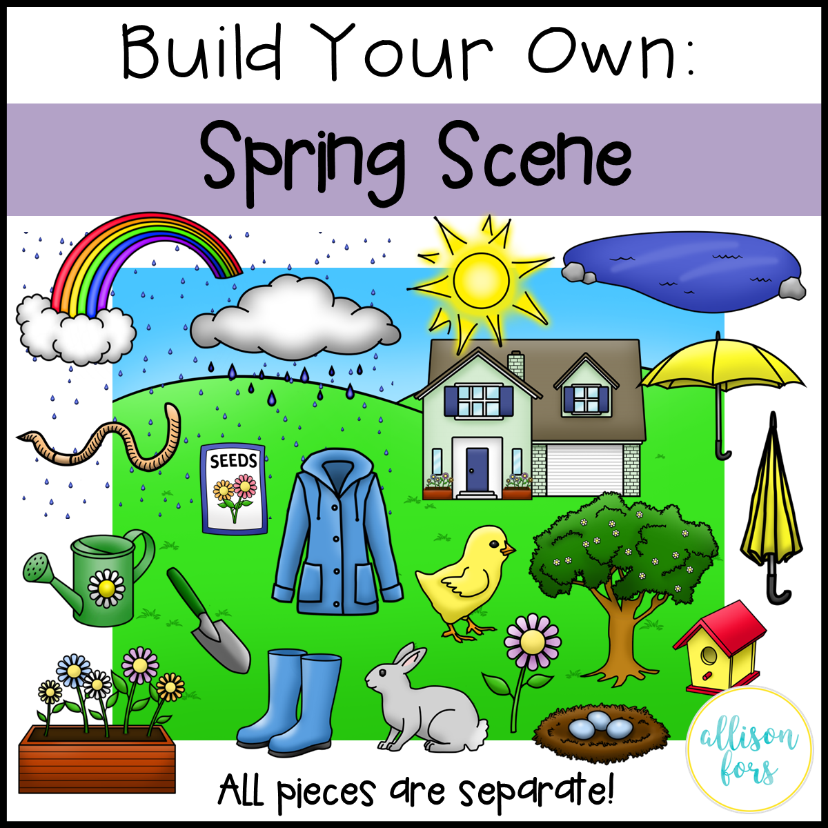 1 clipart scene. Build your own spring