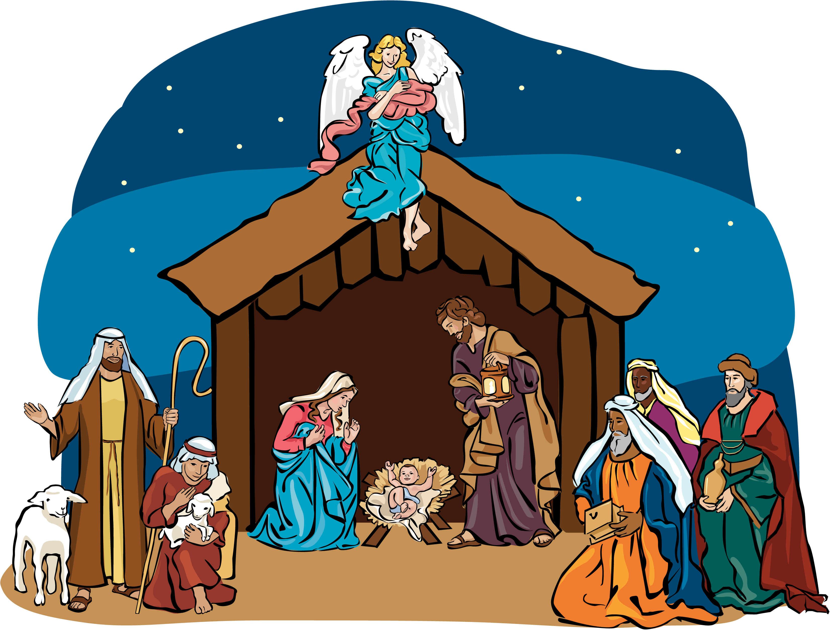 Clipart christmas nativity scene.