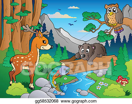 Vector art forest with. 1 clipart scene