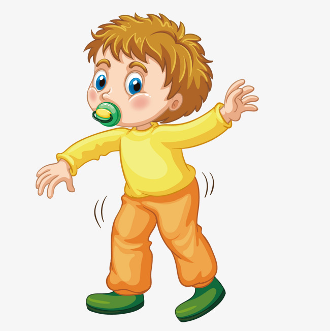 1 clipart year old. Vector walk boy baby