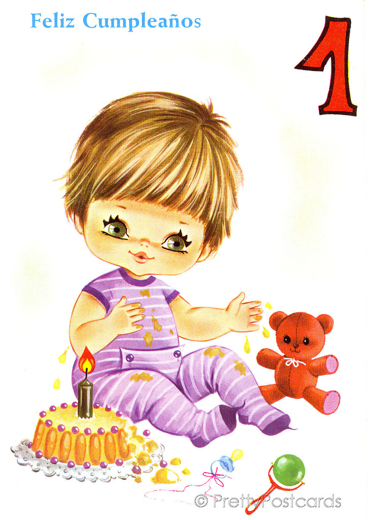 1 clipart year old. Vintage birthday card for