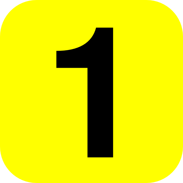 1 clipart yellow. Rounded number one clip