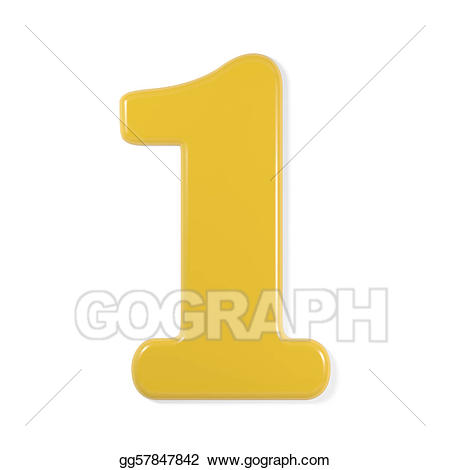 1 clipart yellow. Drawing font number gg