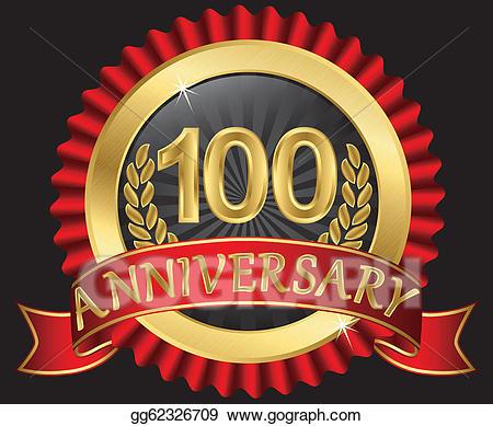 100 clipart 100 years old. Vector art anniversary golden