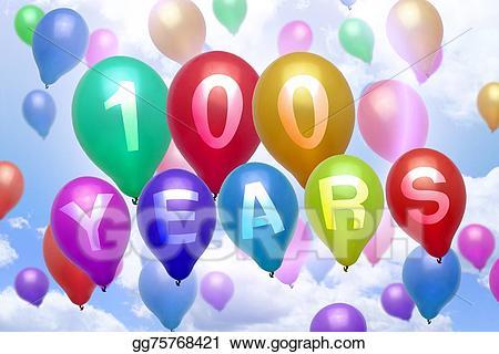100 clipart balloon. Stock illustration years happy
