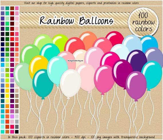 Sale rainbow birthday digital. 100 clipart balloon