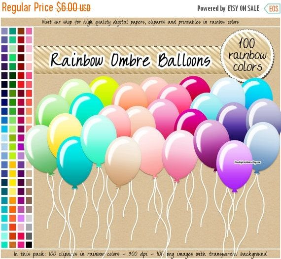 Sale ombre rainbow planner. 100 clipart balloon