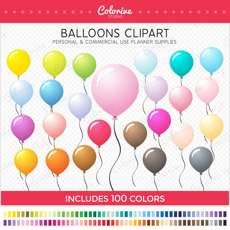 Rainbow colors balloons party. 100 clipart balloon