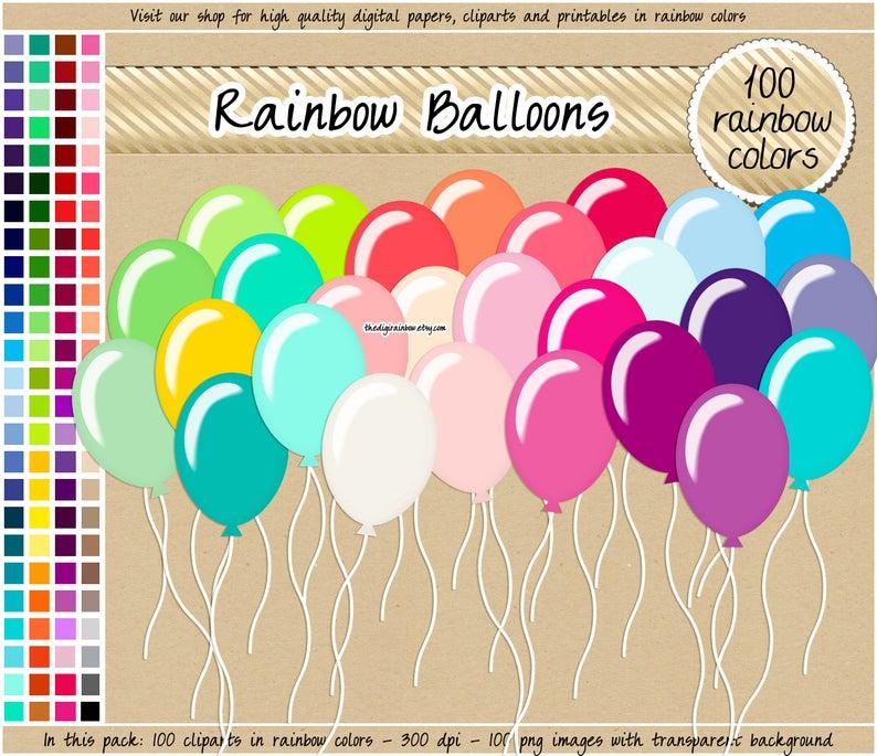 100 clipart balloon. Sale rainbow birthday digital