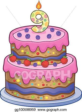Eps illustration cake image. 100 clipart birthday