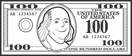 dollar bill letters. 100 clipart black and white