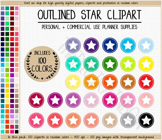 100 clipart circle. Sale star rainbow stickers