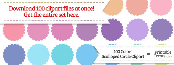 100 clipart circle.  colors scalloped download