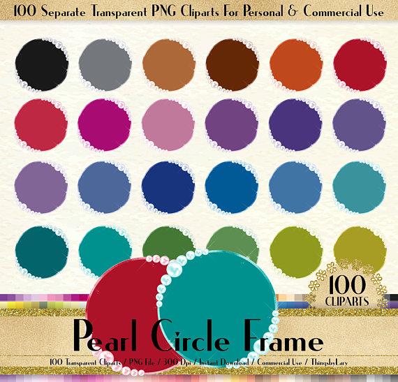 pearl frame digital. 100 clipart circle