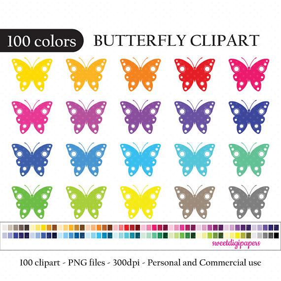 100 clipart item. Butterfly clip art rainbow