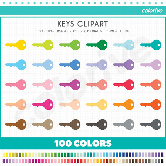 Key rainbow colors keys. 100 clipart item