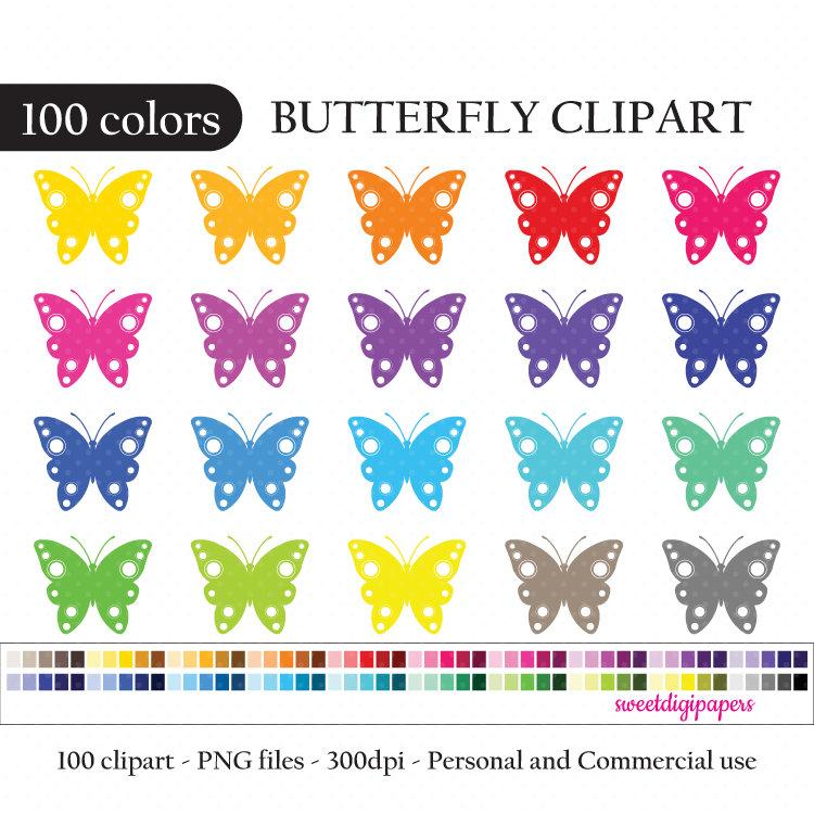Butterfly clip art rainbow. 100 clipart item