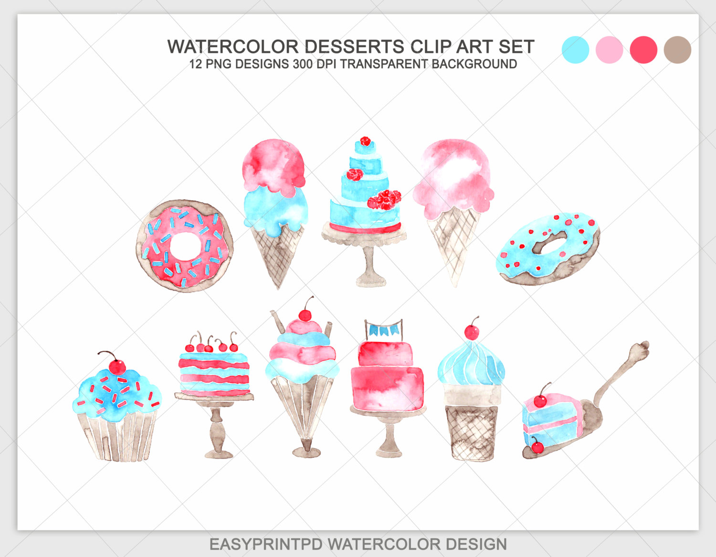 100 clipart item. Watercolor dessert clip art