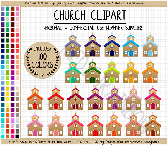 100 clipart item. Sale church planner stickers