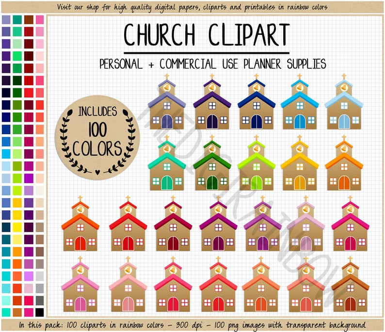 Sale church planner stickers. 100 clipart item