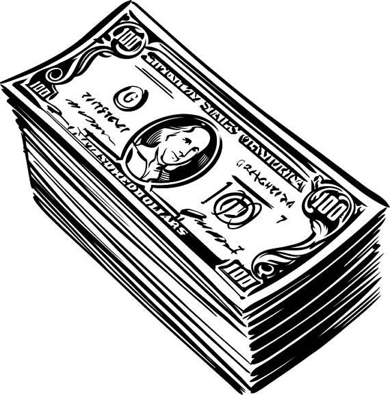 100 clipart money. Cash stack dollar bills