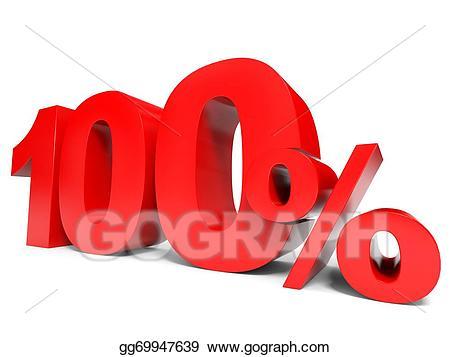 100 clipart one hundred. Stock illustration red percent