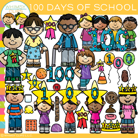 Days of school clip. 100 clipart one hundred