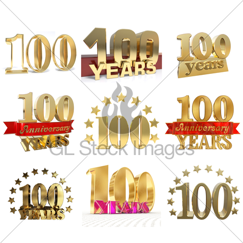 Set of number years. 100 clipart one hundred