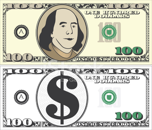 Modern dollar bill with. 100 clipart one hundred