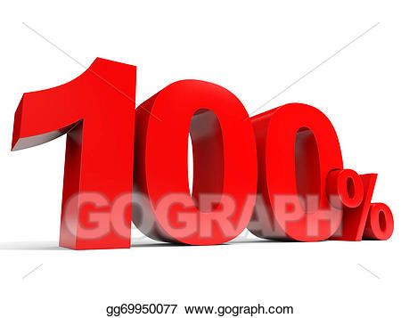100 clipart one hundred. Stock illustration red percent