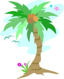 Flowers growing at the. 100 clipart palm tree