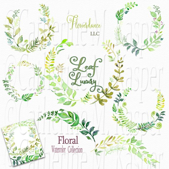 Green wreath watercolor leaf. 100 clipart swag