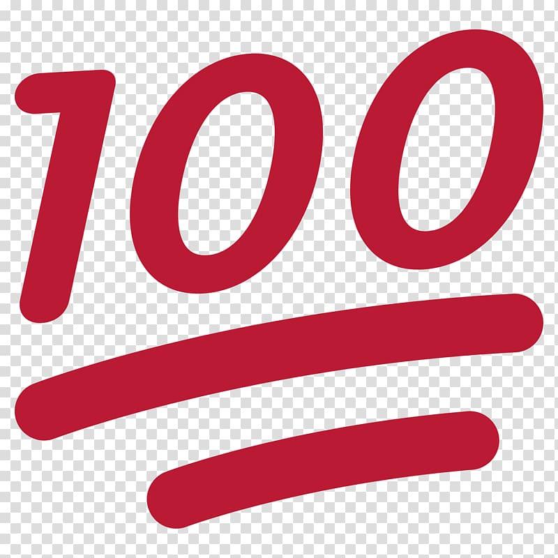Red art emoji symbol. 100 clipart transparent background