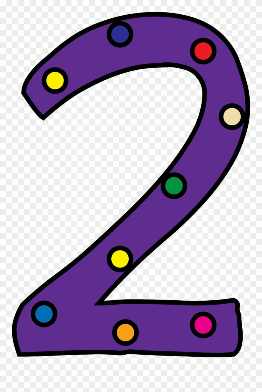 2 clipart. Purple number polka dot