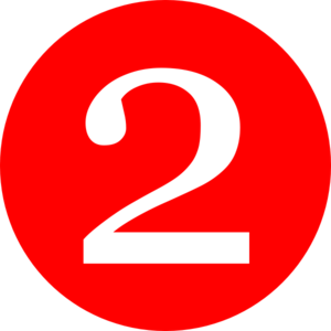 2 clipart. Red rounded with number