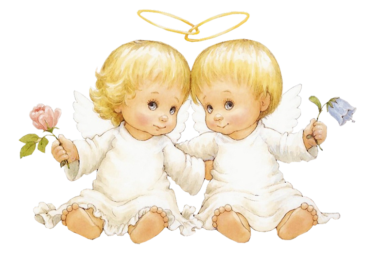 2 clipart angels. Two baby with flowers