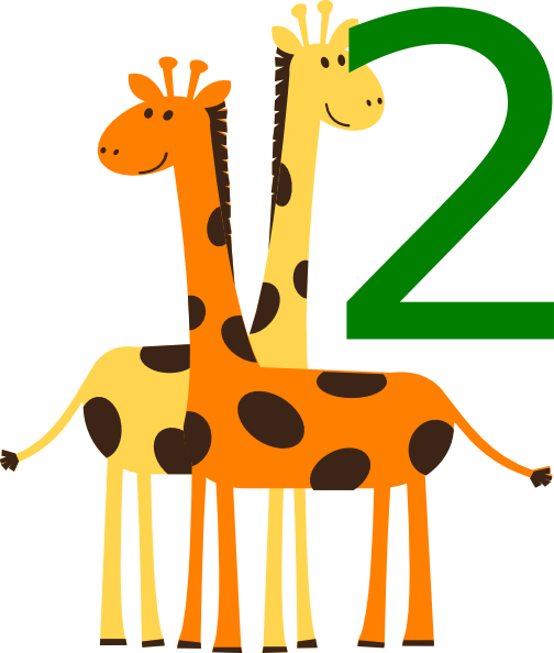 2 clipart animal number. Two giraffes animals clip