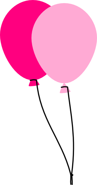 2 clipart balloon. Two pink balloons clip