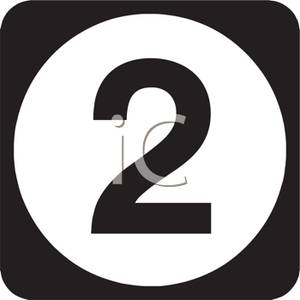 Number on circle royalty. 2 clipart black and white