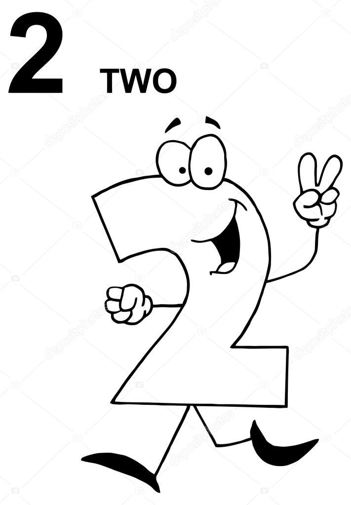 2 clipart black and white. Funny cartoon number stock
