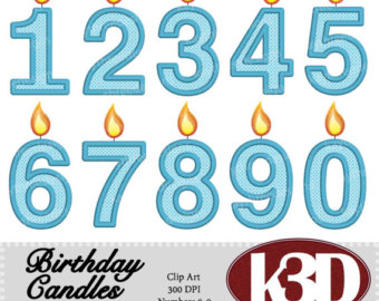 Candle etsy happy birthday. 2 clipart blue number 2