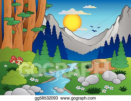 Vector art forest landscape. 2 clipart cartoon