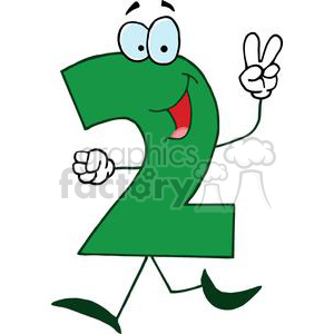 2 clipart cartoon. Number green holding up
