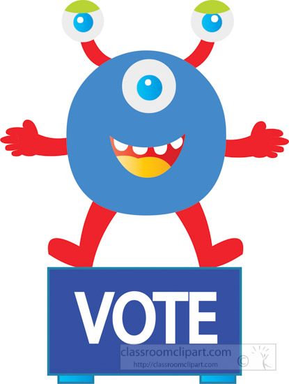 2 clipart cartoon character. Voting three eye on