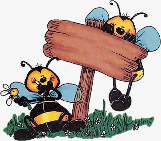 Two bees copywriter background. 2 clipart cartoon character