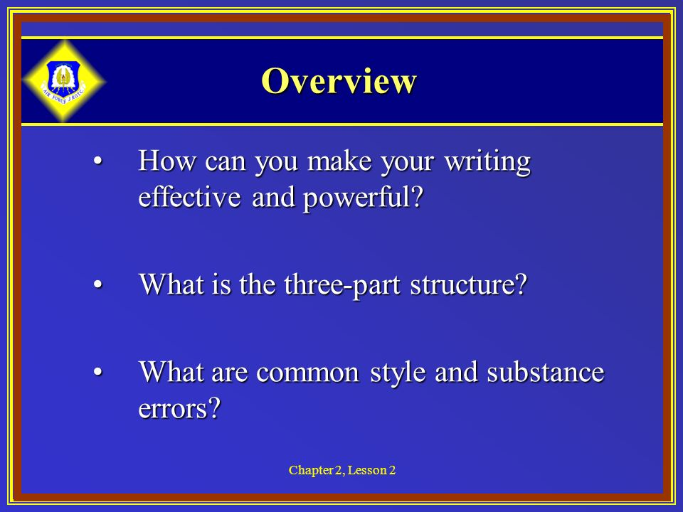 Writing effectively lesson overview. 2 clipart chapter
