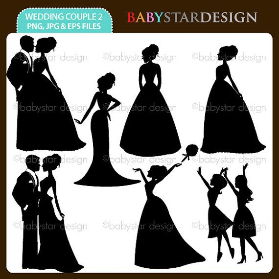 2 clipart couple. Wedding silhouette instant download