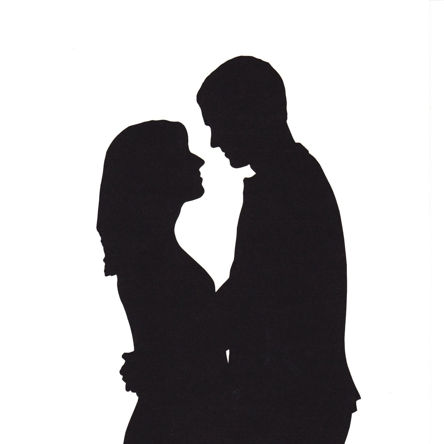 Couple holding hands at. Actor clipart silhouette