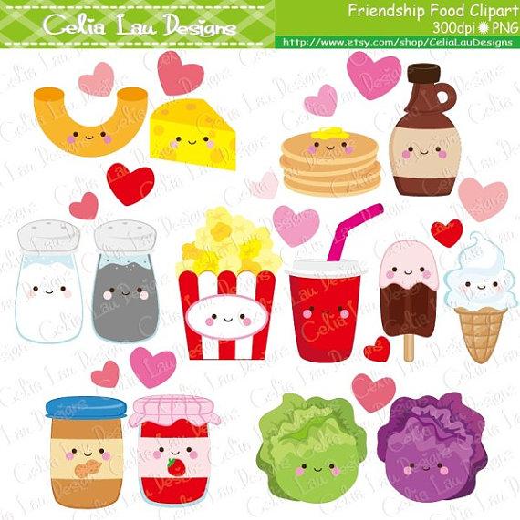2 clipart cute. Friendship food cartoon best